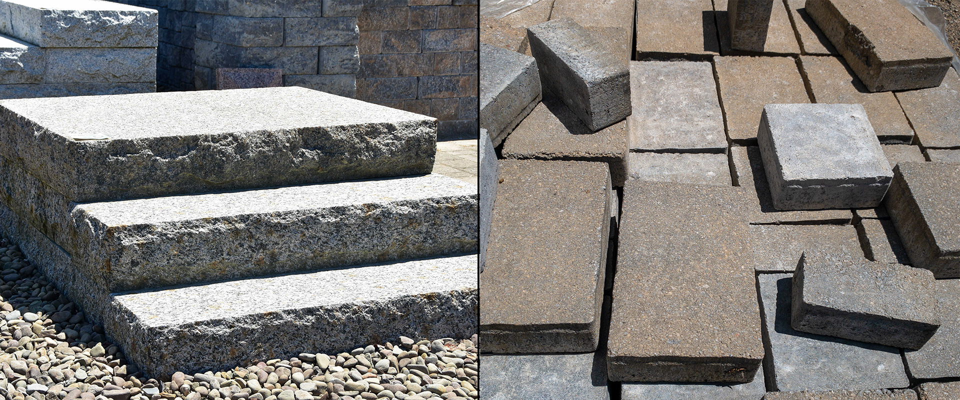Hardscape examples, granite steps and stone pavers